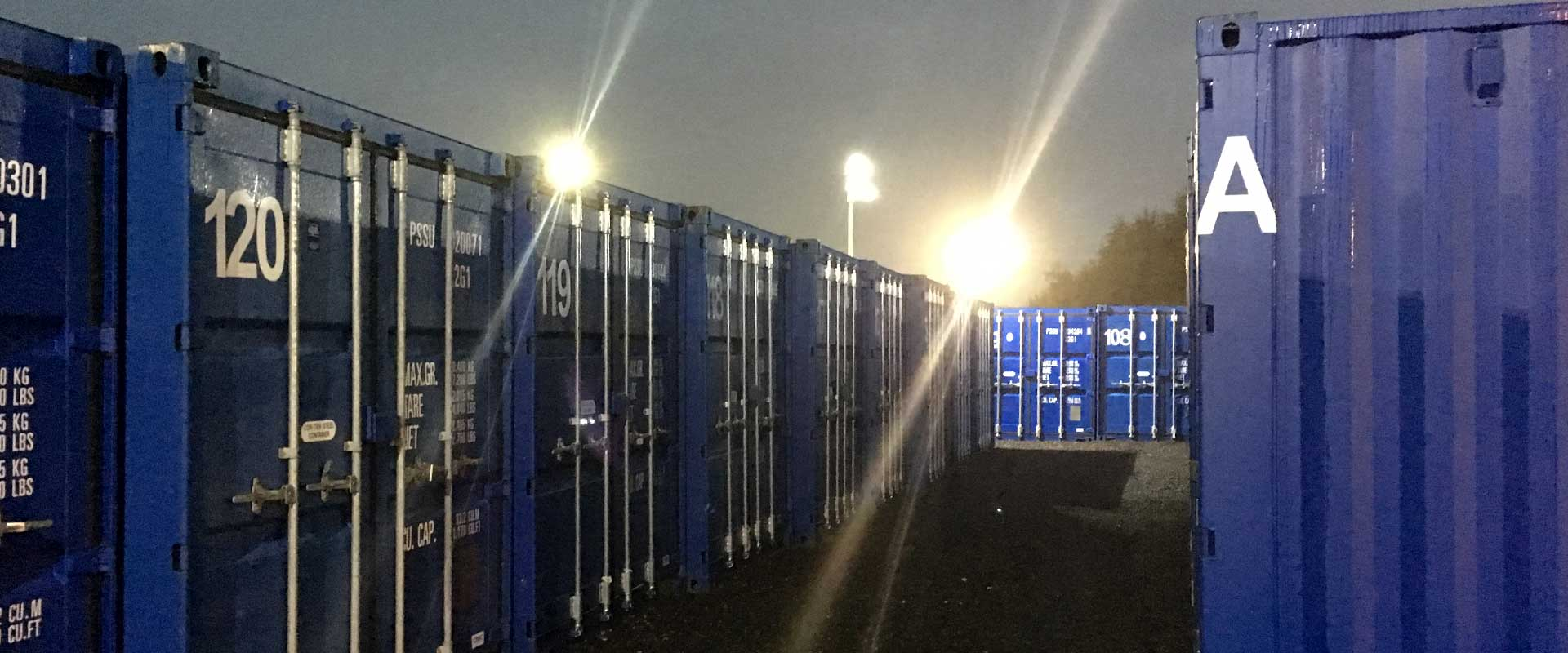 Robinsons Self Storage floodlight units in a row