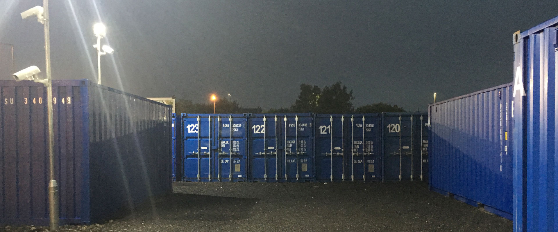 Robinsons Self Storage units under floodlights
